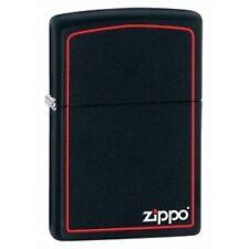 Zippo Logo & Boarder Black Matte Lighter