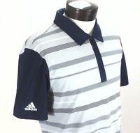 ADIDAS Golf Polo Shirt Gray/Blue Stripe UPF 50 Ultimate 365 CZ8214 Men S $75 New