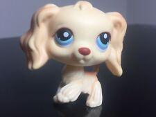 Littlest Pet Shop Cocker Spaniel #91 Cream/Yellow Blue Eyes Very Cute Raised Paw