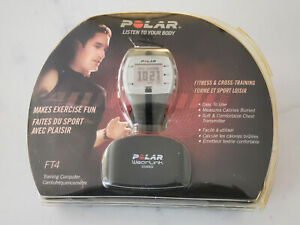 POLAR FT4 Heart Rate Monitor Silver Black w/Manual & Guide Original Open Package