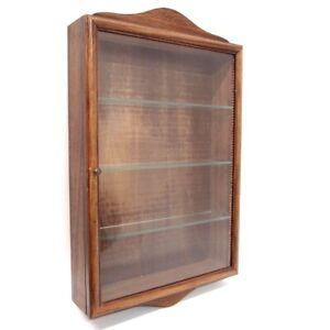 Vitrine Parfum Collection Holz braun Glas Tür 55cm 4 Ebenen Sammler Hängevitrine