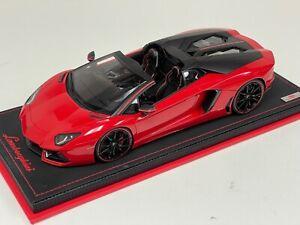1/18 MR Collection Lamborghini Aventador Spider Pirelli  Red Black Leather base
