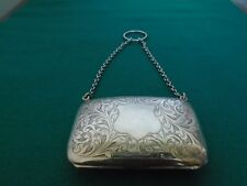 Antique Solid Silver Evening Purse with Blue Watered Silk Interior 1914.