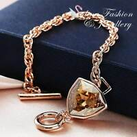 Thick Rose Gold GF Made With SWAROVSKI Crystal Trilliant Cut Champagne Bracelet