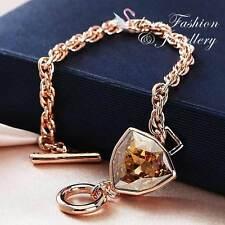 18K Rose Gold GF Made With Swarovski Crystal Trilliant Cut Champagne Bracelet