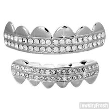 Silver 2 Row Iced Polished Teeth Grillz Combo Universal Mouth Grill
