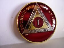 AA BSP Red Gold 1 Year Coin Tri-Plate Alcoholics Anonymous Medallion Top Grade