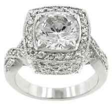 White Gold GB 11.0ct Sim Diamond Royal Cushion Size 5 Engagement Ring G68
