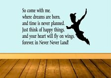 Forever In Neverland Peter Pan Wall Art Sticker Quote Decal Vinyl Transfer