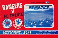 Programm   1977-1978   Glasgow Rangers v Twente Enschede   Cup Winners Cup