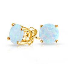 Lovely White Fire Opal Yellow Gold Plated Women Opal Earring Stud Earrings SE174
