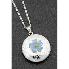 Equilibrium 204555 - SILVER PLATED LOCKET PENDANT NECKLACE  Forget Me Not Flower