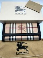 Burberry Long Wallet With Coin Purse Dark Brown Check Pvc