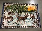 Vintage Large Deer Tapestry Rug Wall Hanging Wildlife 44 X 60 Fringe