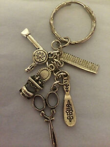 I LOVE HAIRDRESSING Antique Silver tone Key Ring birthday present in gift bag