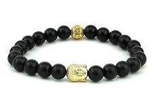 Onyx black Agate Stone Buddha Energy  Lucky string Bracelet  fits all Mens women