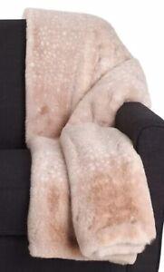 Nicole Miller Artelier Snow Leopard Faux Fur Pink Throw Plush Blanket 50x60