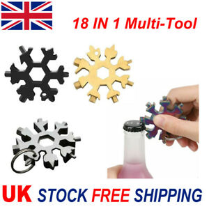 18 In 1 Multi-Tool Steel Snowflake Portable Screwdriver Wrench. Bottle Opener UK