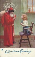 Tuck ~Antique Christmas Postcard-Long Red Robe~Santa Claus with~Tree~Child~a357