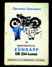 1954 ZUNDAPP DB234 - LUXUS  MOTORCYCLE OPERATION INSTRUCTIONS MANUAL