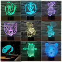 3D Winnie Bear Night Light 7 Color Panda LED illusion Desk Lamp Kids Xmas Gift