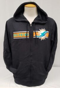 BRAND NEW Majestic Men's NFL Miami Dolphins Full-Zip Hooded Sweater