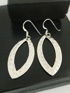 925 Sterling Silver Large Hammered Oval Dangle Hoop Hook Earrings, Gift For Her