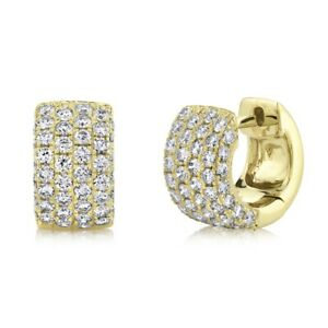 Diamond Huggie Earrings 14K Yellow Gold Round Pave Wide 1.33 TCW Small Hoop
