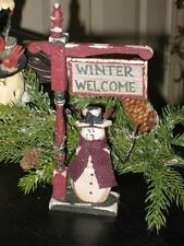 "WOODEN SWINGING POST "" WINTER WELCOME "" SNOWMAN"