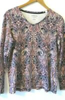 Croft & Barrow Women's Large long sleeve t shirt cotton paisley purple navy etc
