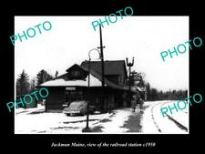OLD 8x6 HISTORIC PHOTO OF JACKMAN MAINE THE RAILROAD DEPOT STATION c1950