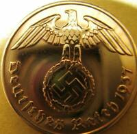 Nazi German 1 Reichspfennig 1937-Genuine Coin Third Reich-EAGLE SWASTIKA WWII