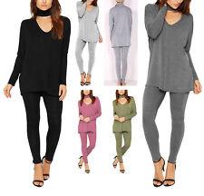New Womens Ladies Choker Neck Lounge Twin Set Co-Ord Loungewear UK Sizes 8-26
