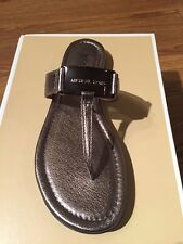 NIB $99 Michael Kors Colleen Gunmetal Metallic Leather Thong Sandals Size 5M