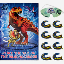 JURASSIC WORLD PARTY PIN GAME WALL DECORATION DINO HYBRID DINOSAUR 8 PLAYERS
