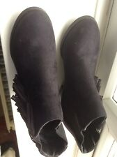 Ladies  ankle boots. 4 (37)Black faux Suede. Worn Once. Ex Cond