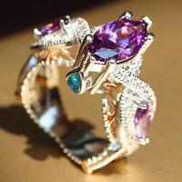 New Purple Sapphire  Birthstone 925 Silver Filled Wedding Bridal Ring Size 6-10