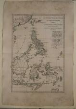 PHILIPPINES INDONESIA EAST INDIES TAIWAN 1787 BONNE ANTIQUE COPPER ENGRAVED MAP