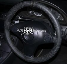 PERFORATED LEATHER STEERING WHEEL COVER FOR MAZDA MX5 MK2 98-05 WITH BLACK STRAP