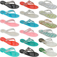 NEW LADIES WOMENS BEACH FLIP FLOPS JELLY FLIPFLOPS SANDALS RETRO SHOES SIZE 3-8