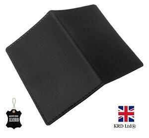 SOFT REAL GENUINE LEATHER BLACK Travel Card Holder Wallet Bus Pass Ticket Oyster