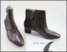 NINE WEST WOMEN'S BROWN ANKLE HIGH MID HEEL BOOTS SIZE 6 M NEW