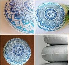 Round Floor Pillow Handmade Soft Cushion Insert Filler With Ombre Cushion Cover