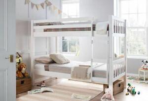Europa Barcelona 3FT x 5FT3 Short Single White Wooden Shorty Bunk Bed w/ 2 Matts