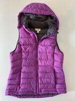 TANGERINE Women's Puffy Vest Hooded Purple Size Medium Full Zip Poly Fill