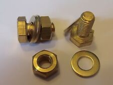 M10X20 BRASS HEX HEAD BOLTS NUTS & WASHERS (PACK 0F 2) BRASS SET SCREWS X 2