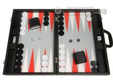"19"" Premium Backgammon Set - Large Size - Black Board, White/Scarlet Red Points"