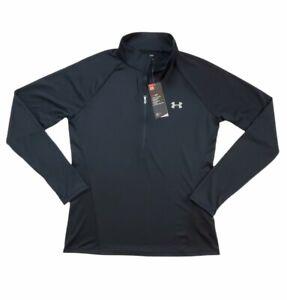 UNDER ARMOUR Black Pullover Shirt Half Zip Heat Gear Loose Fit Women's Size L