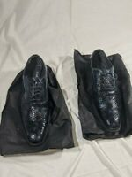 Faranzi Dress Shoes Leather Wedding, Blue - Black HTF Colorway, Mens Size 12.0