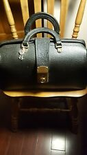 Vintage / Antique Cheney England Black Leather Doctor Dr Bag with 2 keys